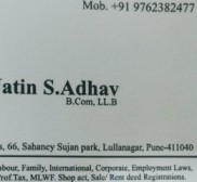 Advocate Jatin Adhav, Lawyer in Maharashtra - Pune (near Alibag)