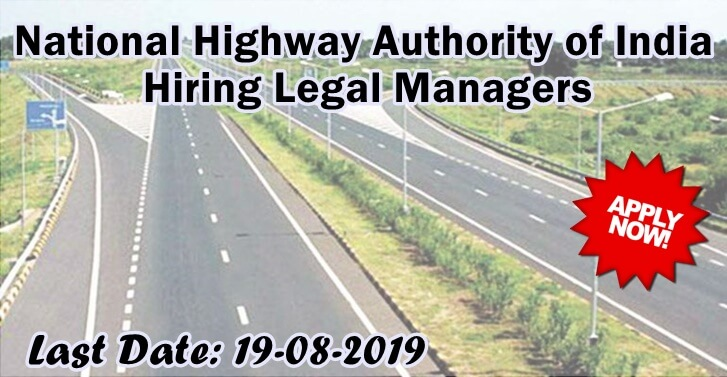 National Highway Authority of India Hiring Legal Managers