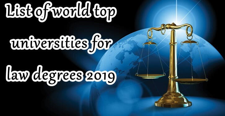 List of world top universities for law degrees 2019