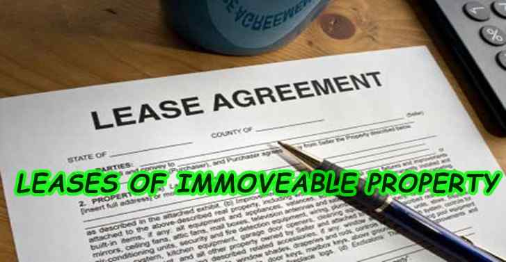 Leases of Immovable Property