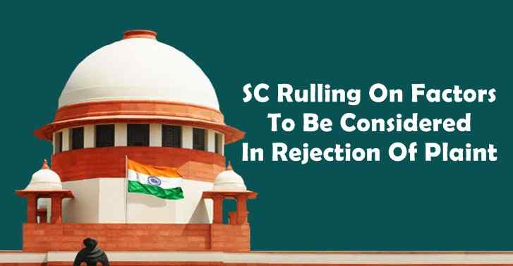 SC Rulling On Factors To Be Considered In Rejection Of Plaint