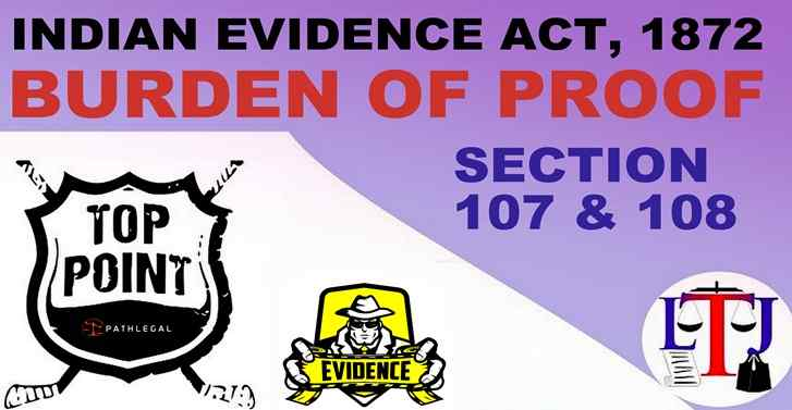 Indian Evidence Act,1872 Burden of Proof Section 107 & 108:Top Points