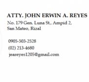 Advocate John Erwin Reyes, Lawyer in Rizal - San Mateo (near General Trias)