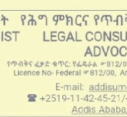 Attorney Addisu Mengist Zewdie, Lawyer in Addis Ababa -