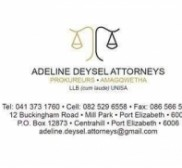 Attorney Adeline Deysel Attorneys , Lawyer in Eastern Cape - Port Elizabeth (near Queensdale)