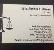 Advocate Shaista A Usmani , Income Tax advocate in Pune - Wakad