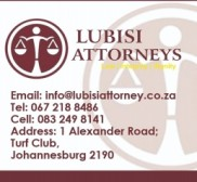 Attorney Lubisi Attorneys , Property attorney in South Africa - Turffontein